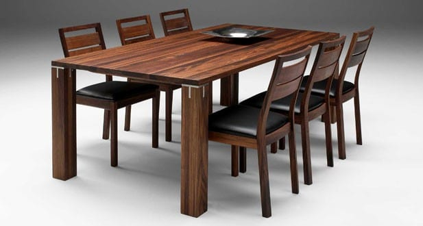 Fabulous Solid Wood Dining Table Modern Woden Brown Color Design