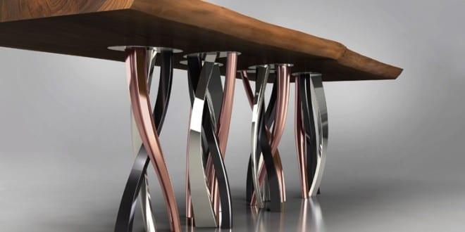 Esstisch mit geschweißten Kupferfüßen