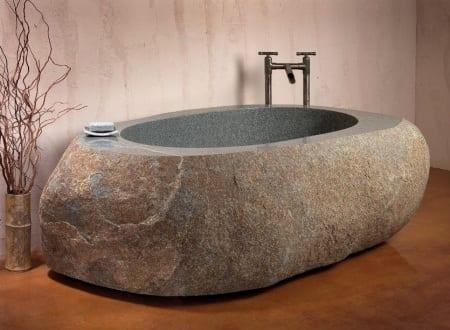 Freistehende badewanne stein  Freistehende Stein-Badewanne - fresHouse
