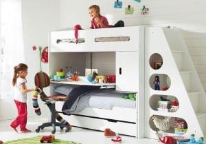 Kinderetagenbett in weiss