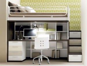 Kinderzimmer Einrichtung mit Hochbett und Schreibtisch