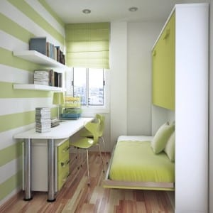Kinderzimmer mit klappbarem Bett