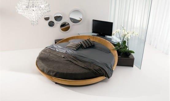 Leder Runde Betten mit runden Spiegel Wanddekoration