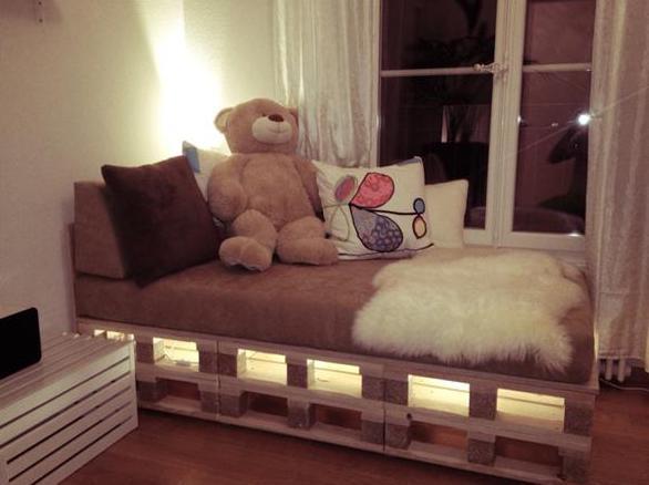 Paletten Bett Mit Led Leuchten Freshouse