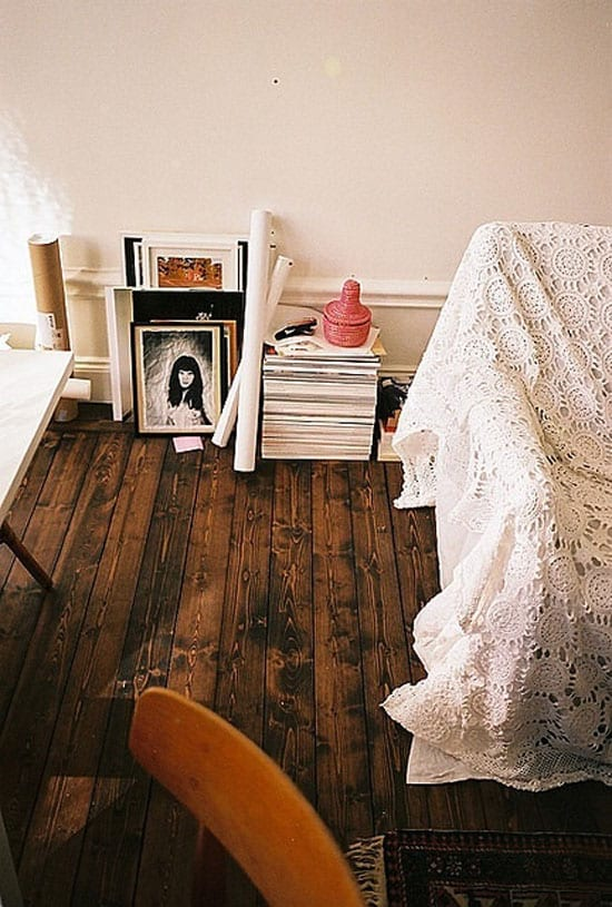 bedroom with dark wooden floor freshouse. Black Bedroom Furniture Sets. Home Design Ideas