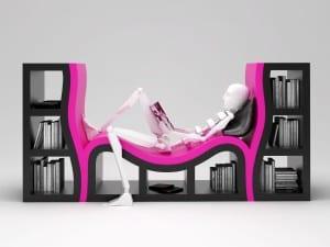 designer bücheregal mit Sitzfläche