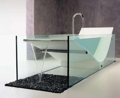 freistehende badewanne aus glas freshouse. Black Bedroom Furniture Sets. Home Design Ideas