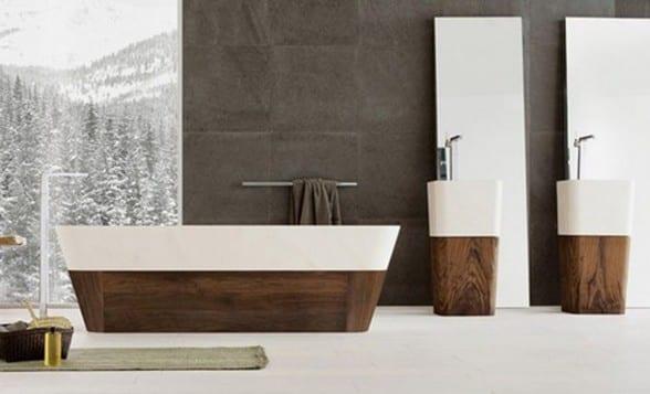 freistehende badewanne aus holz und keramik freshouse. Black Bedroom Furniture Sets. Home Design Ideas