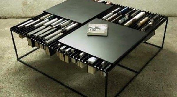 funktionaller Couchtisch für Bücheraufbewahrung