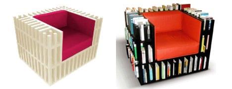 funtionaller Sessel mit Bücherregalen