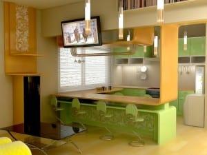 kleine Küche in grün und gelb