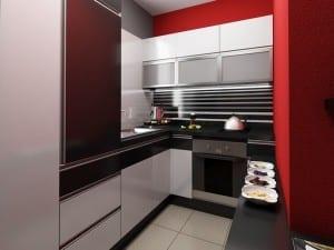 kleine Küche in schwarz und rot