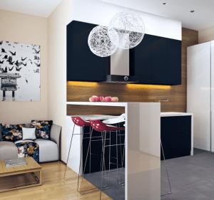 kleine Küche in weiß und blau mit Thecke