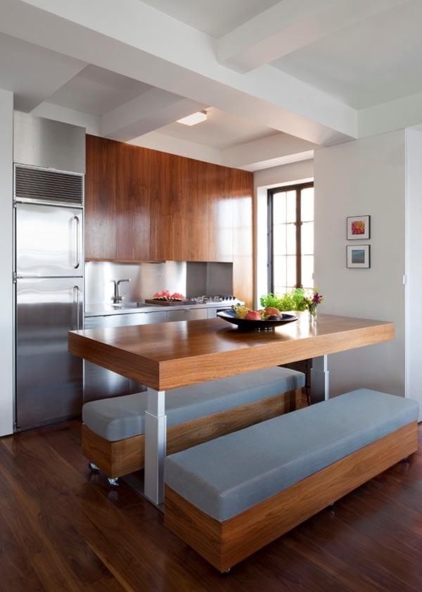 kleine Küche mit stellbarem Tisch aus Holz - fresHouse