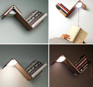 kratives Bücheregal mit Lampe