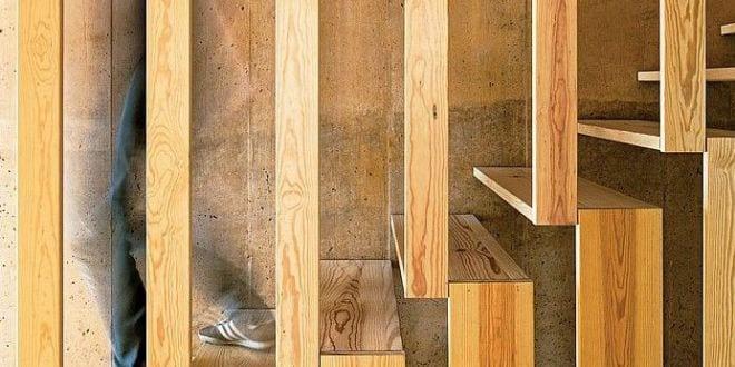 kreative Holztreppe-Design für den Innenraum_BRUTALIST HOUSE IN LISBON von PARATELIER