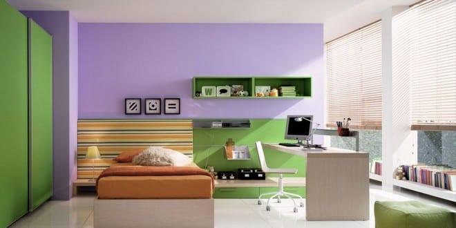 minimalistische Einrichtung des Kinderzimmers in lila und gruen