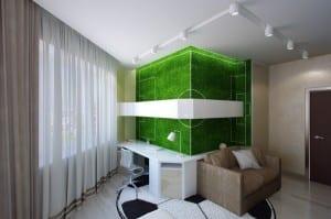 minimalistische Einrichtung des Kinderzimmers mit Fussballmotiv