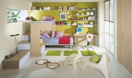 minimalistische Einrichtung des Kinderzimmers mit Hochbett