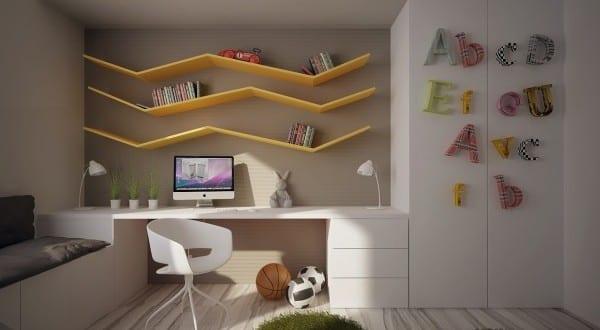 minimalistische Einrichtung des Kinderzimmers mit Zikzakregalen