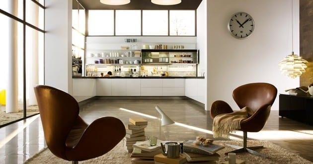 moderne kleine Küche im Wohnzimmer 1
