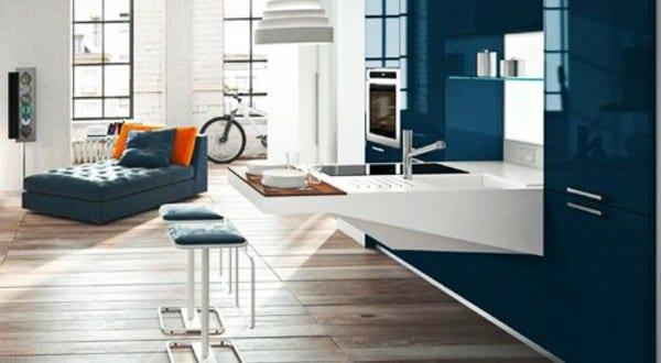 moderne kleine Küche im Wohnzimmer 2
