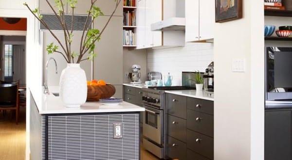 moderne kleine Küche im Wohnzimmer 3