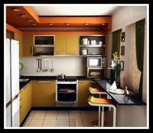 moderne-küche-in-orange-und-gelb