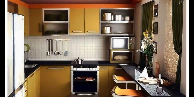 moderne kleine Küche in orange