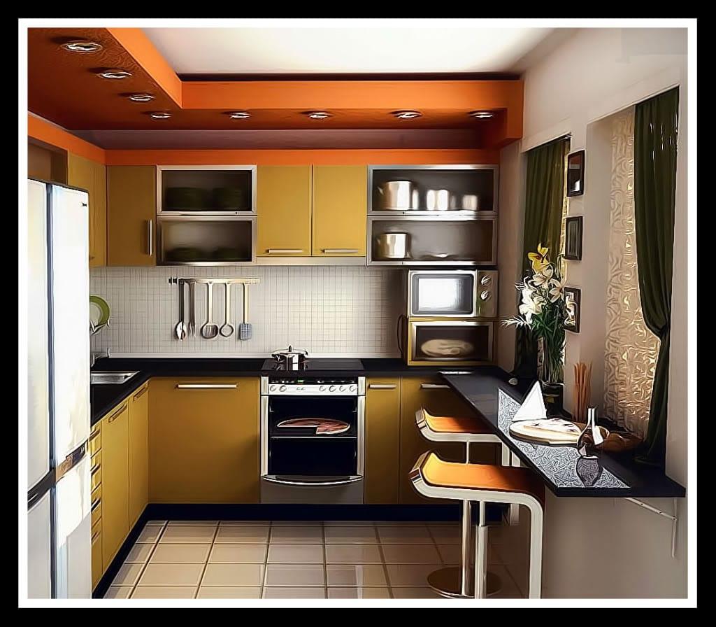 moderne kleine Küche in orange - fresHouse