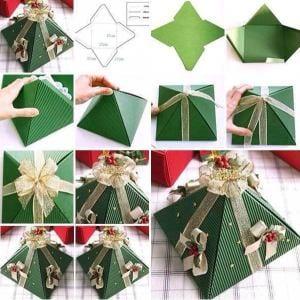 DIY pyramidenförmige Weihnachtsverpackung