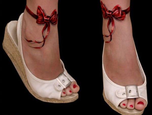 Tattooideen-rote Schleifen am Fessel-Frauen tattoo
