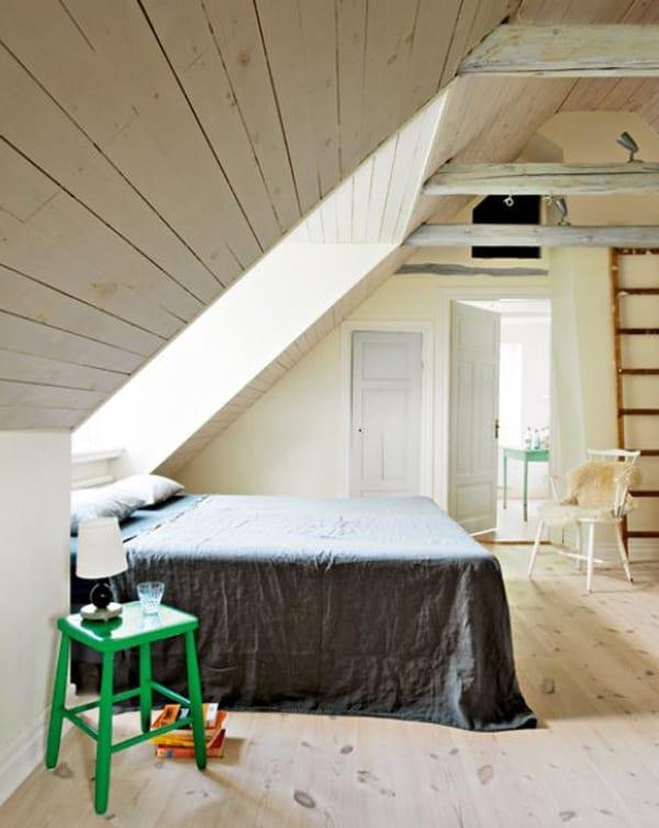 doppelbett am dach-kleines schlafzimmer einrichten - fresHouse