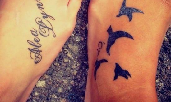 füß tattoo- vögel tattoo