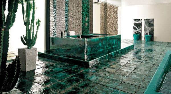 farbrausch schöner wohnen-badezimmer einrichtung in dunkelgrün ...