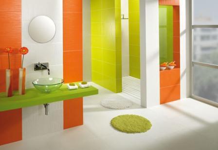 farbrausch schöner wohnen-badezimmer in grün und orange ...