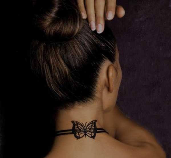 Halstattooideen-Frauen tattoo-Halskette-Schmetterling