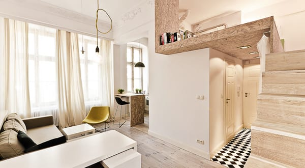 Einrichtungsidee eines 29 m² großen Apartments in Polen