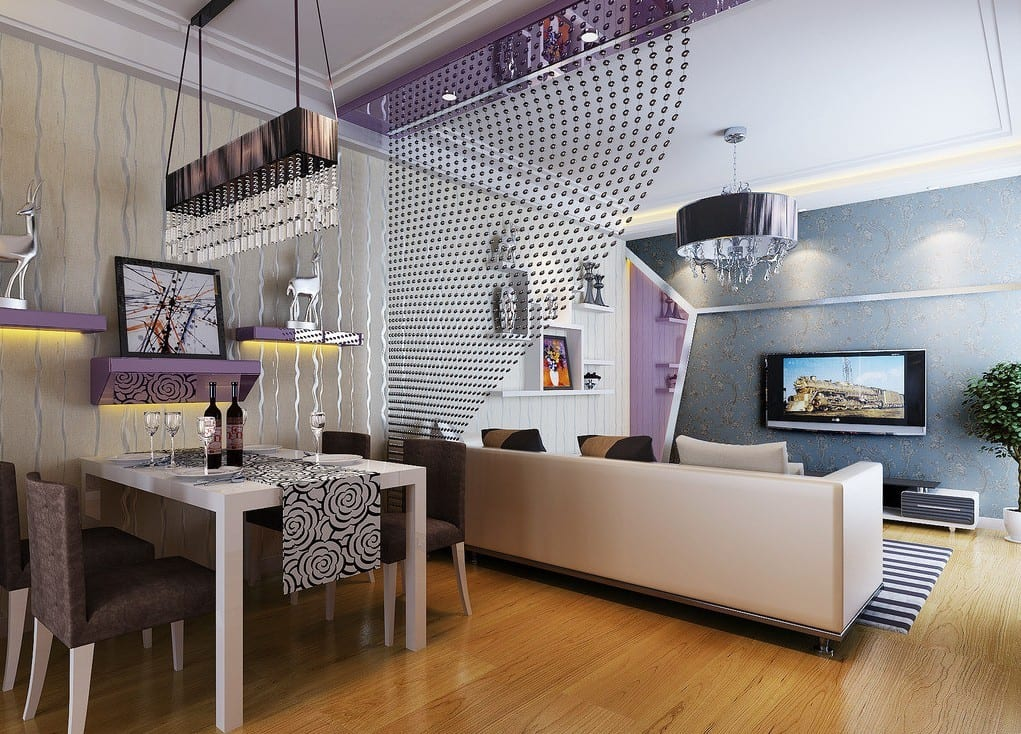 kleines wohnzimmer einrichten-wohnungsgestaltung in lila ...