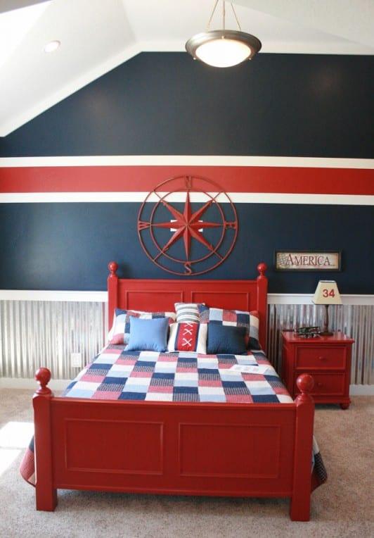 Uberlegen Jungenschlafzimmer Mit Wandgestaltung In Rot Blau Weiß