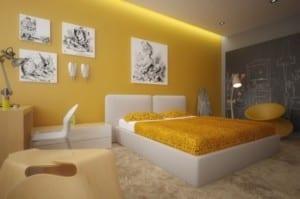 wand streichen ideen in gelb