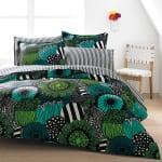 schlafzimmer einrichten - moderne grüne bettwäsche