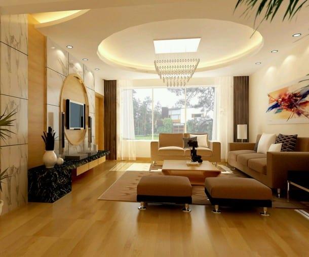 Deckengestaltung Abgehangte Decke Mit Runder Indirekten Beleuchtung
