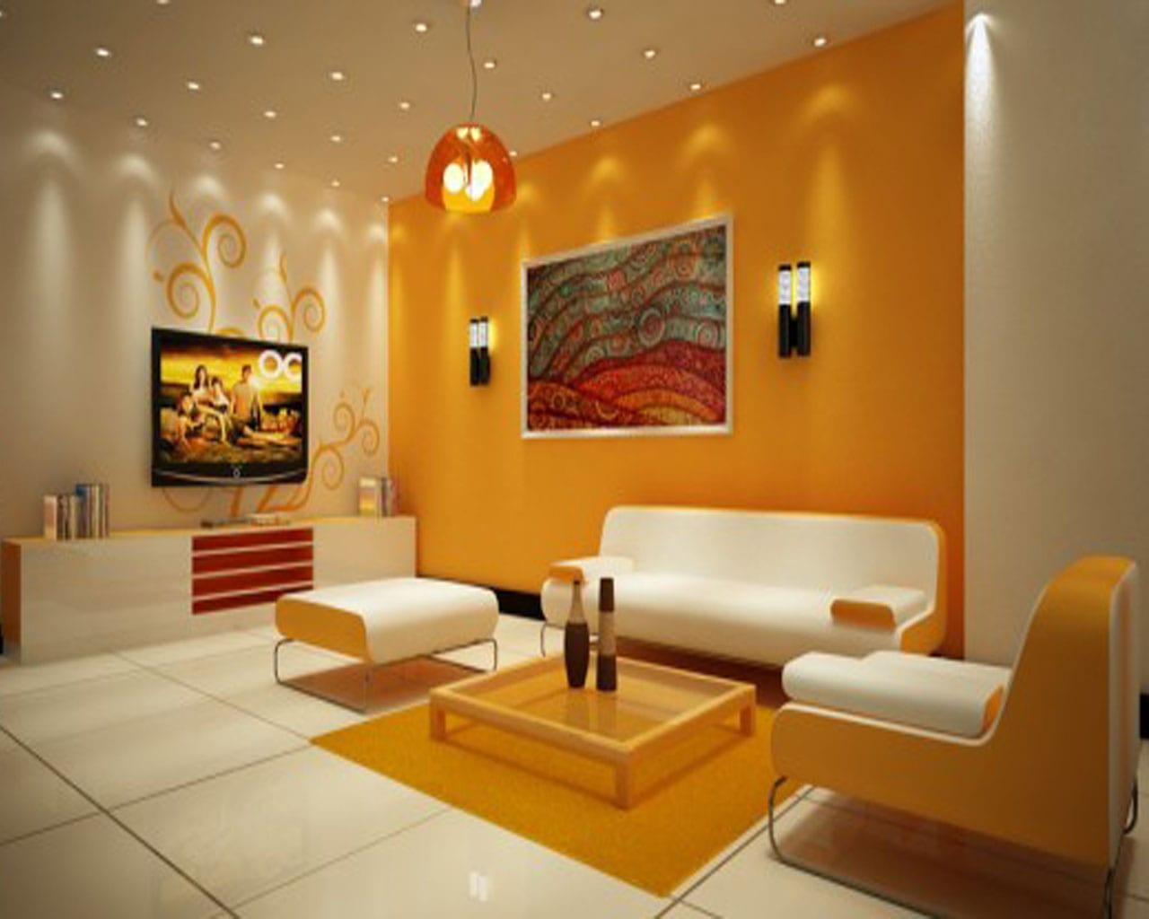 farbgestaltung wände- gelbe wand - fresHouse