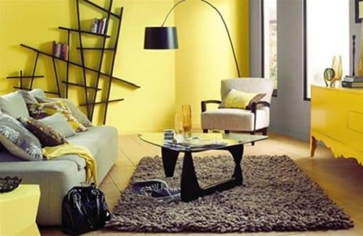Gelbe Wand   Farbgestaltung  Wohnzimmer