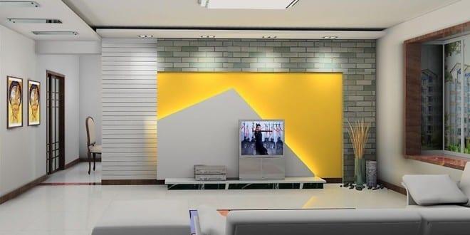 gelbe wand - moderne TV Wand - fresHouse