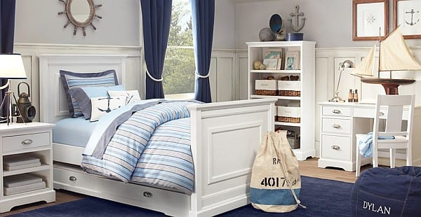 Wohnideen schlafzimmer farbgestaltung blau  maritimes schlafzimmer mit blauen gardinen - fresHouse