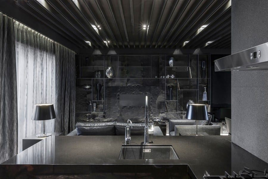 moderne küche schwarz mit küchentisch aus naturstein - fresHouse