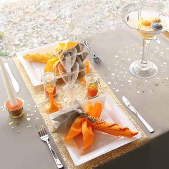 Tisch Eindecken In Orange Und Grau Freshouse
