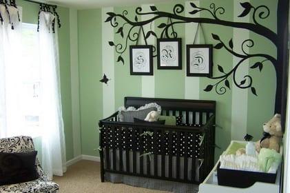 Kinderzimmer junge wandgestaltung grün  wandgestaltung grün - babyzimmer wanddeko - fresHouse